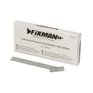 Fixman Galvanised Smooth Shank Nails 18G 5000 Pack 12 x 1.25mm