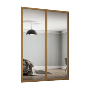 Shaker 2 Door Sliding Wardrobe Kit Mirror with Oak Frame (W)1145 x (H)2260mm