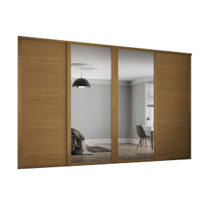 Shaker 4 Door Sliding Wardrobe Kit Oak Panel / Mirror with Oak Frame (W)2898 x (H)2260mm