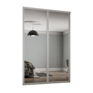 Shaker 2 Door Sliding Wardrobe Kit Mirror With Cashmere Frame (W)1449 x (H)2260mm