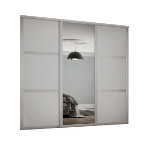 Shaker 3 Door Sliding Wardrobe Kit Cashmere Panel / Mirror (W)2136 x (H)2260mm