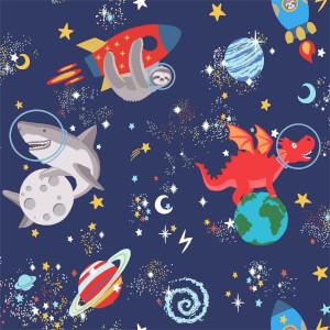 Holden Decor Space Animals Kids Smooth Glow in the Dark Navy Wallpaper