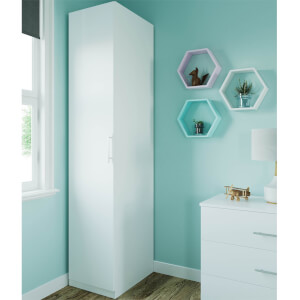 Modular Bedroom Slab Single Wardrobe - White