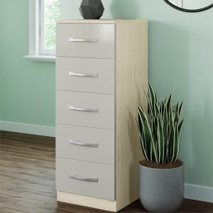 Modular Bedroom Slab 5 Drawer Chest - Cashmere