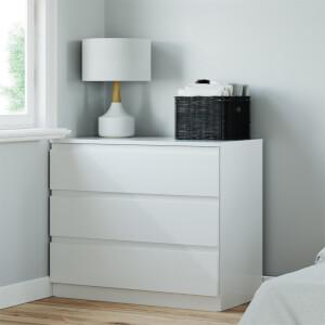 Modular Bedroom Handleless 3 Drawer Chest - White