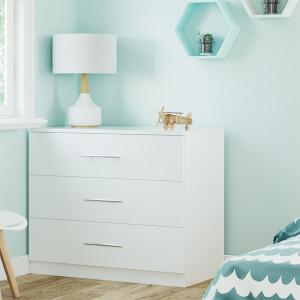 Modular Bedroom Slab 3 Drawer Chest - White