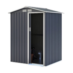 Charles Bentley 4.9ft x 4.3ft Metal Storage Shed - Grey