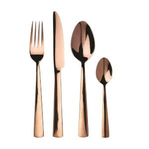 Avie Lustra Cutlery Set - Rose Gold - 16 Pieces