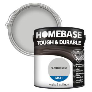 Homebase Tough & Durable Matt Paint - Feather Grey 2.5L