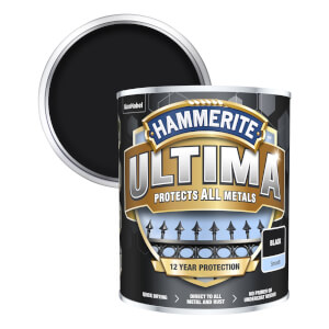 Hammerite Ultima Smooth Metal Paint - Black - 750ml