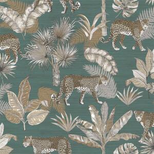 Grandeco Leopard Teal Wallpaper