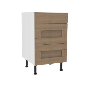 Timber Shaker Oak 500mm 3 Drawer Premium Unit