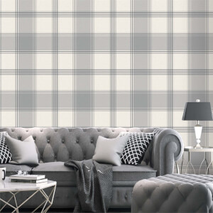 Belgravia Decor Giorgio Soft Silver Check Wallpaper