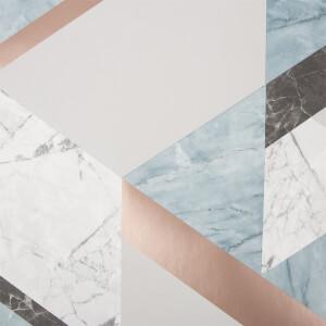 Fresco Marblesque Geometric Wallpaper - Jade/Rose Gold