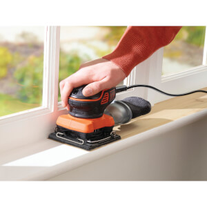 BLACK+DECKER Paddle Switch Finishing 1/4 Sheet 220W Corded Sander with Sanding Sheet (KA450-GB)