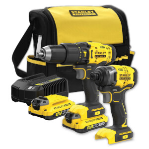 STANLEY FATMAX V20 18V Cordless Combi Drill and Impact Driver Kit with Soft Bag (SFMCK465D2S-GB)
