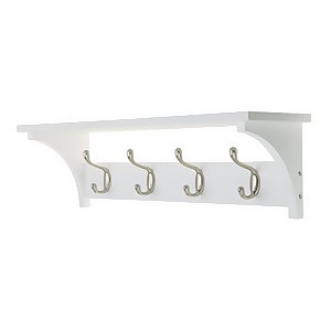 4 Coat Satin Nickel Hooks on White Shelf Combo