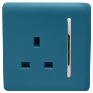 Trendi Switch 1 Gang 13Amp Switched Socket in Ocean Blue