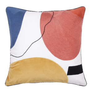 Abstract Circle Cushion - Multi-coloured