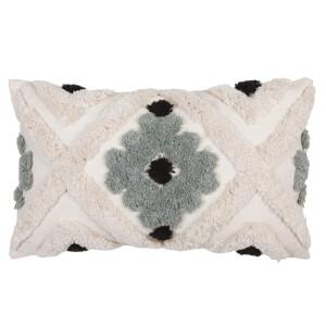 Tufted Geometric Cushion - Olive - 30x50cm