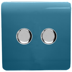 Trendi Switch 2 Gang 120 Watt LED Dimmer Switch in Ocean Blue