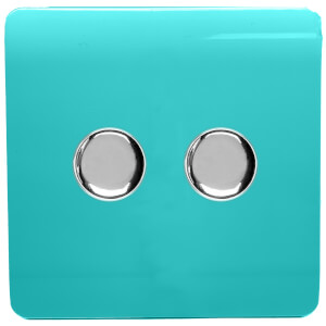 Trendi Switch 2 Gang 120 Watt LED Dimmer Switch in Bright Teal