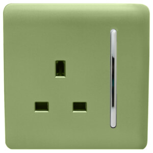 Trendi Switch 1 Gang 13Amp Switched Socket in Moss Green