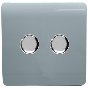 Trendi Switch 2 Gang 120 Watt LED Dimmer Switch in Cool Grey