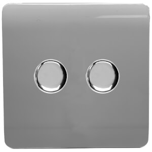 Trendi Switch 2 Gang 120 Watt LED Dimmer Switch in Warm Grey