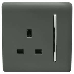 Trendi Switch 1 Gang 13Amp Switched Socket in Charcoal