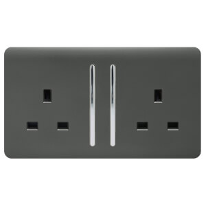Trendi Switch 2 Gang 13Amp Long Switched Socket in Charcoal