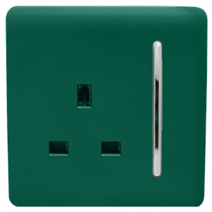 Trendi Switch 1 Gang 13Amp Switched Socket in Dark Green