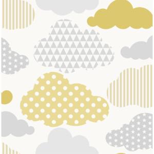 Superfresco Easy Clouds Yellow Grey Wallpaepr