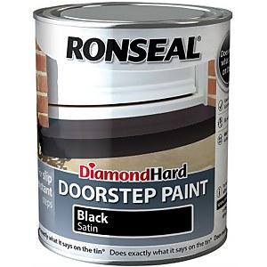 Ronseal Diamond Hard Black - Doorstep Satin Paint - 750ml