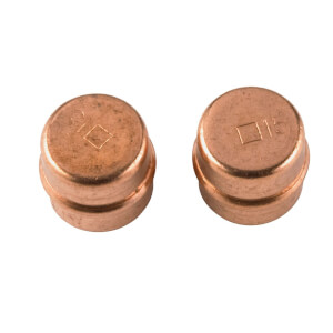 Solder Ring Stopend - Copper - 15mm - 2 Pack