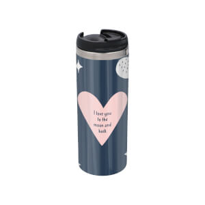 I Love You To The Moon And Back Stainless Steel Thermo Travel Mug - Metallic Finish