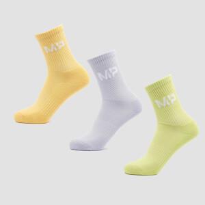MP Women's Neon Brights Crew Socks (3 Pack) Butterfly/Banana/Lavender