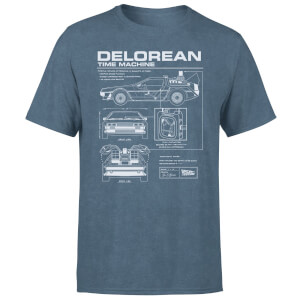 Back To The Future Delorean Men's T-Shirt - Navy Acid Wash