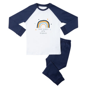 Treat People With Kindness Kids' Pyjamas - White/Navy