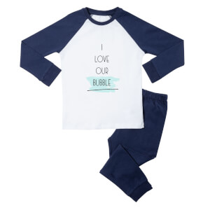 I Love Our Bubble Kids' Pyjamas - White/Navy
