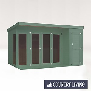 Country Living Overton 12 x 8 Premium Garden Room Summerhouse With Side Shed Painted + Installation - Aurora Green