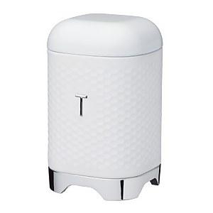 Lovello Textured Tea Caddy with Geometric Hexagon Pattern Ice White