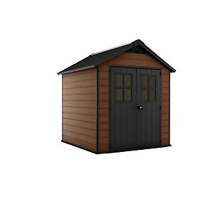 Keter Newton Outdoor Garden Storage Shed 7.5x7ft Brown
