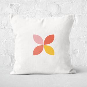 Retro Flower Motif Square Cushion