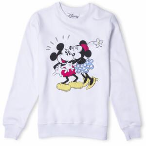 Disney Mickey Mouse Minnie Kiss Sweatshirt - White