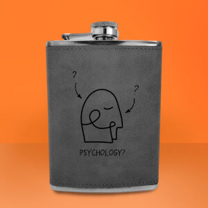 Psychology Illustration Engraved Hip Flask - Grey
