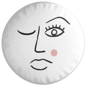 Blushing Abstract Face Round Cushion