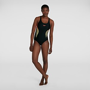 Damen Placement Muscleback Badeanzug in Schwarz
