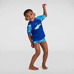 Infant Boy's Sun Protection Top and Short Blue