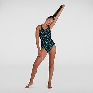 Women's Boom Logo Allover MedalistSwimsuit Black